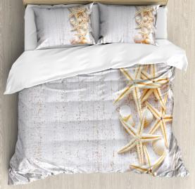Ocean  Duvet Cover Seashells and Starfish Print
