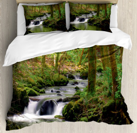 River  Duvet Cover Forest over Mossy Rocks Print