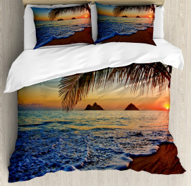 Hawaiian  Duvet Cover Sunrise Lanikai Beach Print