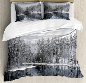Winter  Duvet Cover Trees in Cold Day Lake Print