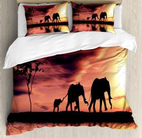 Africa  Duvet Cover Safari Wild Animals Print