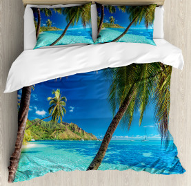 Tropical  Duvet Cover Palm Trees Sea Beach Print