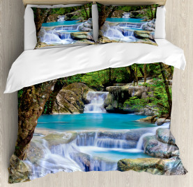 Nature  Duvet Cover Rocks in Waterfall Lake Print