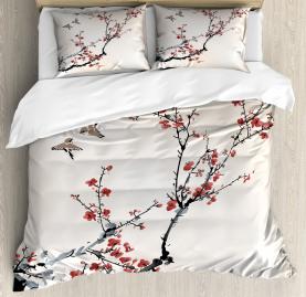 Floral  Duvet Cover Asian Style Art Birds Print