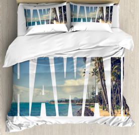 Tropical  Duvet Cover Hawaii Themed Artsy Print
