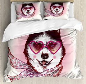 Animal  Duvet Cover Hipster Husky Dog Hearts Print