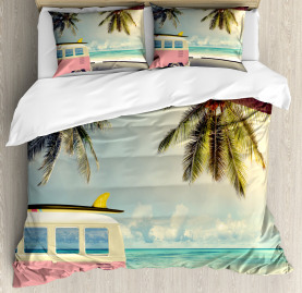Colorful  Duvet Cover Retro Minivan on Beach Print