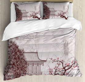 Asian  Duvet Cover Sakura Trees and Mountain Print
