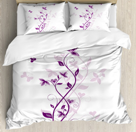 Purple  Duvet Cover Violet Tree Blossoms Print