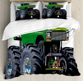 Cartoon  Duvet Cover Monster Pickup Truck Print