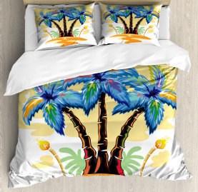 Tropical  Duvet Cover Cartoon Island Sunset Print
