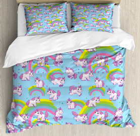 Unicorn  Duvet Cover Cute Cartoon Childish Print