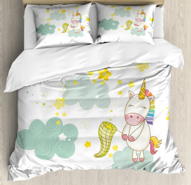 Unicorn  Duvet Cover Unicorn Fairies Print Print