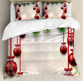 Christmas  Duvet Cover Red Balls Ribbons Print