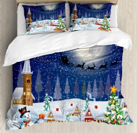 Christmas  Duvet Cover Winter Landscape Print
