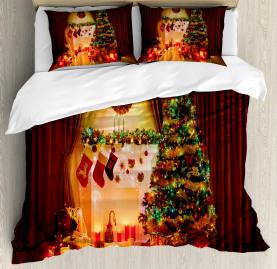 Christmas  Duvet Cover Tree Festive Presents Print