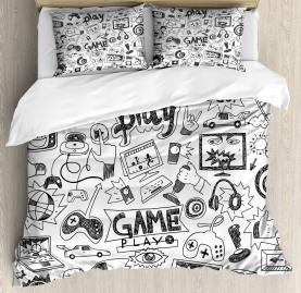 Video  Duvet Cover Games Black and White Print