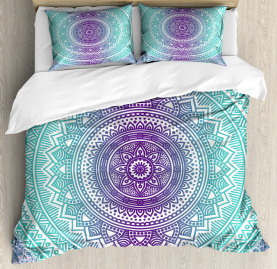 Blue  Duvet Cover and Purple Hippie Mandala Print