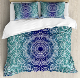 Navy  Duvet Cover and Teal Ombre Tribe Print