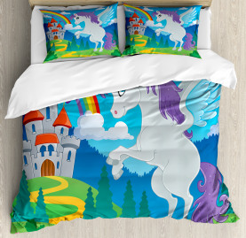 Kids  Duvet Cover Unicorn with Rainbow Fairy Print