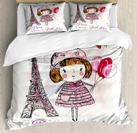Paris  Duvet Cover Hearts on Eiffel Tower Print