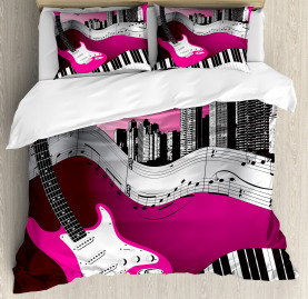 City  Duvet Cover Urban Bass Guitar Rock  Print
