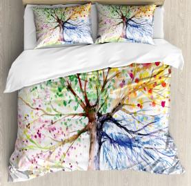 Tree  Duvet Cover Four Seasons Colorful Print