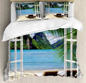 Beach  Duvet Cover Palms and Ocean Summer Print