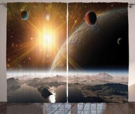 Monde Universum Erde Vorhang