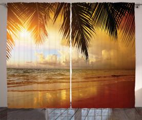 Sonnenuntergang Karibik Palmen Vorhang
