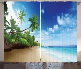 Strand Sonnenuntergang und Wellen Vorhang