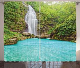 Klares Pool-tropische Anlage Vorhang