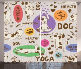 Karikatur-Haustier, das Yoga tut Vorhang