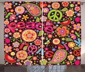 Hippie Paisley Blätter Vorhang