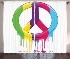 Friedens-Motto-Symbol Vorhang