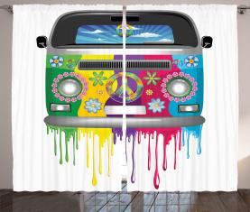 Hippie Van Urlaub Vorhang
