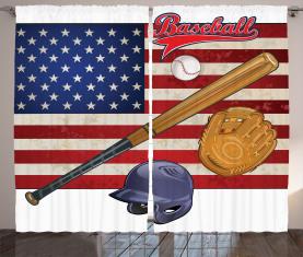 USA Flagge und Baseball Vorhang