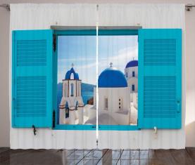Griechenland Oia-Gebäude Vorhang