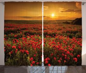 Sonnenuntergang Wiese Ackerland Vorhang