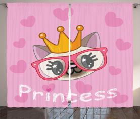 Glückliche Prinzessin Cat Vorhang