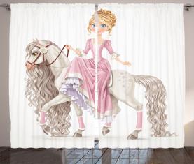 Prinzessin auf weißem Pferd Vorhang