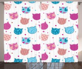 Gemusterte Kätzchen Köpfe Vorhang