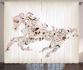 Blumenpferd Paisley Vorhang