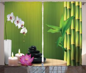Bambus Blume Orchidee Stein Vorhang