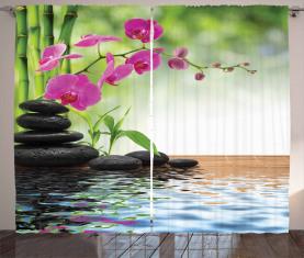 Bambus-Baum-Orchideen-Steine Vorhang