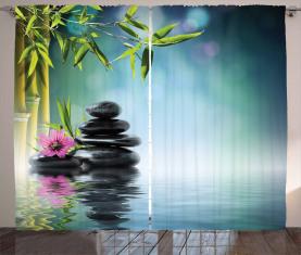 Hibiskus-Bambus auf Wasser Vorhang