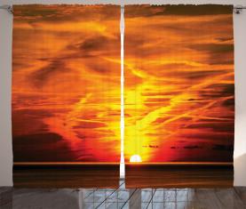 Sonnenuntergang über Horizont-Meer Vorhang