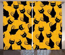Schwarze Katze Vintage Vorhang
