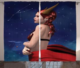 Stier-Mädchen-Horn-Zeichen Vorhang
