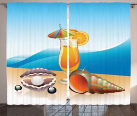 Seelandschaft Sommer Strand Vorhang